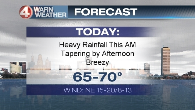 Soaking rain through this afternoon; Skies clear tonight
