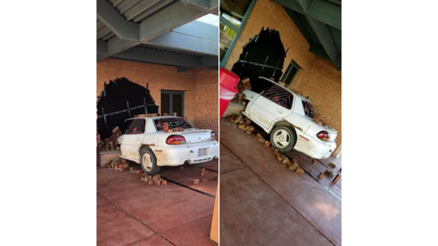 Car appears to crash into building in senior prank