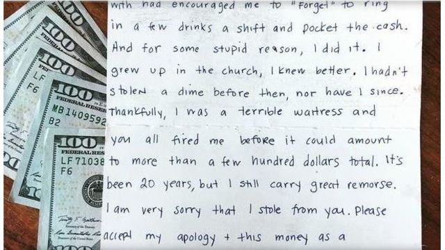 Former waitress sends $1,000 and apology to boss for stealing 20 years ago