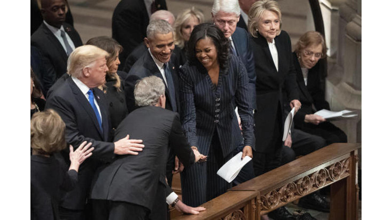 Image result for bush greet michelle at funeral ... free photo