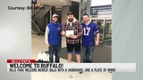 Members of Bills Mafia greet new players with wings at Buffalo airport