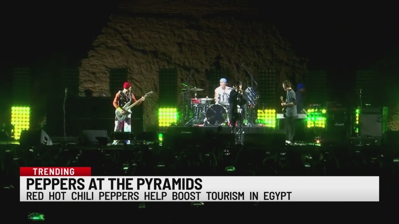 Red Hot Chili Peppers play concert at Egypt's Great Pyramids