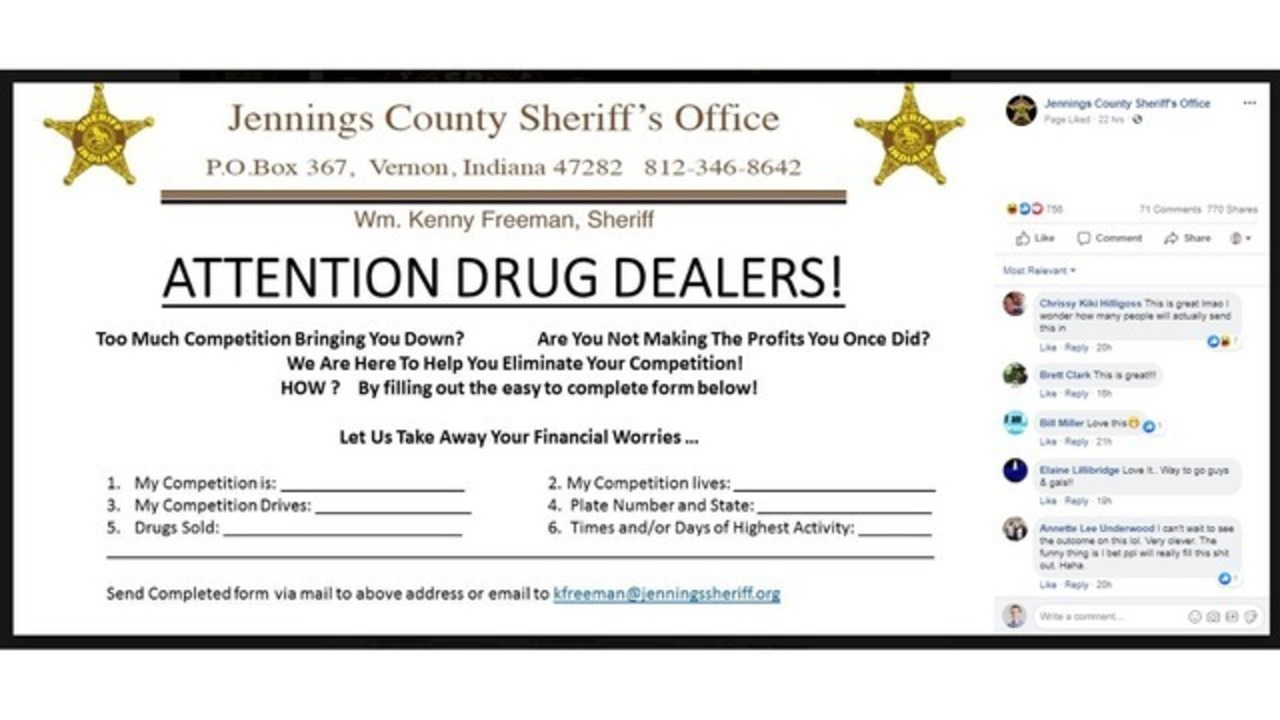 southern indiana sheriff asks drug dealers to turn in